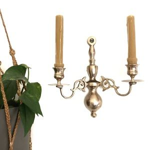 Brass Wall Double Candlestick Holder Sconce